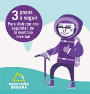 Montaña invernal con seguridad