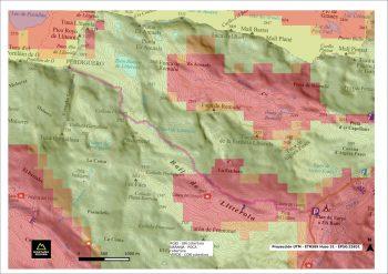 mapa excursionista con datos de cobertura 2G