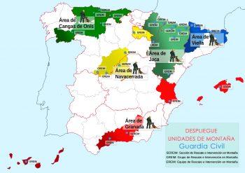 Mapa Unidades de Montaña de la Guardia Civil en España