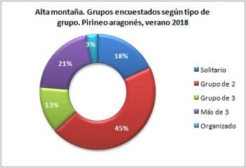 Alta montaña. Grupos encuestados según tipo de grupo. Pirineo Aragonés, verano 2018