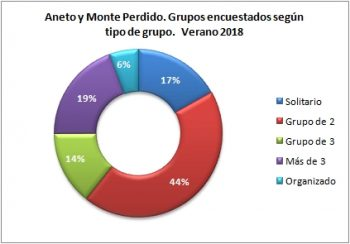 Aneto y Monte Perdido. Grupos encuestados según tipo de grupo. Verano 2018