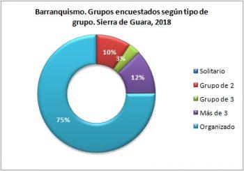 Barranquismo. Grupos encuestados según tipo de grupo. Sierra de Guara, verano 2018