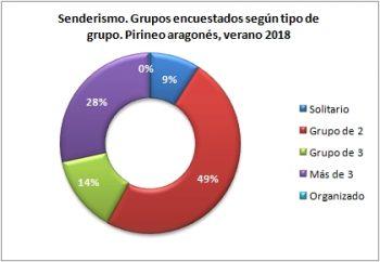 Senderismo. Grupos encuestados según tipo de grupo. Pirineo Aragonés, verano 2018