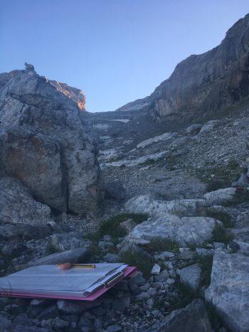 Encuesta de cima en la ruta de acceso al Monte Perdido desde Góriz
