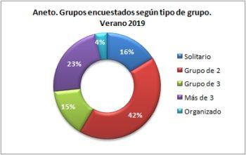 Aneto. Grupos encuestados según tipo de grupo. Verano 2019