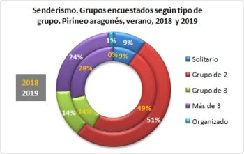 Senderismo. Grupos encuestados según tipo de grupo. Pirineo Aragonés, verano 2019