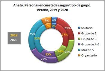 Aneto. Personas encuestadas según tipo de grupo. Verano, 2019-2020
