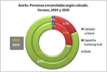 Aneto. Personas encuestadas según tipo de calzado. Verano, 2019-2020