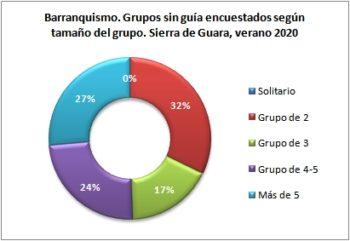Barranquismo. Grupos sin guía encuestados según tipo de grupo. Sierra de Guara, verano 2020
