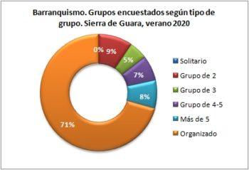 Barranquismo. Grupos encuestados según tipo de grupo. Sierra de Guara, verano 2020